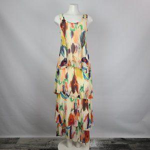 Elena Wang Bright Tiered Maxi Dress Size M